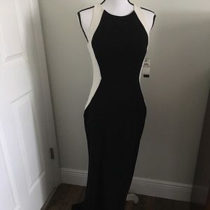 Long black and white backless dress